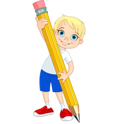 Boy holding pencil vector image