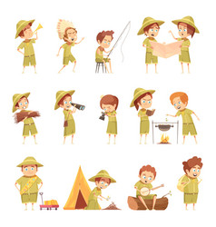 boy scout retro cartoon icons set vector image vector image