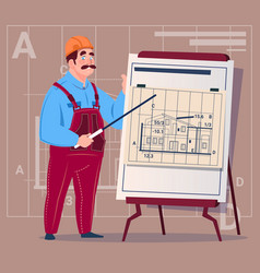 Cartoon builder explain plan of building blueprint vector