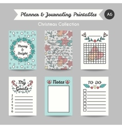 Christmas printable journaling cards line style vector