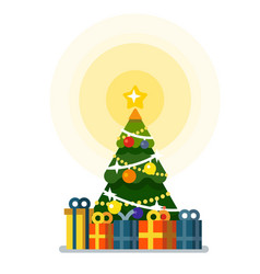 christmas tree with lots of gift boxes vector image vector image