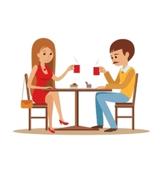 Couple sitting in the cafe flirting and talking vector image