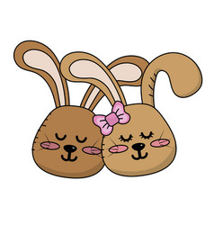 cute animal couple rabbit head together vector image vector image