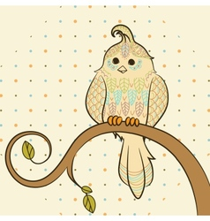 doodle background with bird vector image