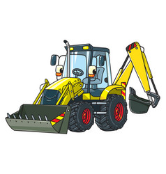 Funny constuction tractor with eyes vector