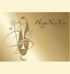 golden happy new year greeting vector image