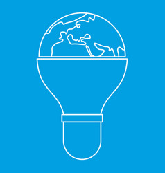 Light bulb and planet earth icon outline vector