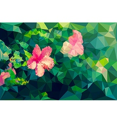 Low poly geometric of hibiscus flower vector image vector image