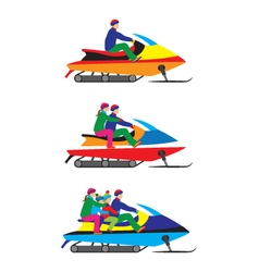 People family on a snowmobile winter sports vector