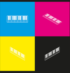 Piano keyboard sign white icon with vector