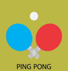 Ping pong sport icon flat vector image vector image
