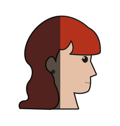Profile head woman female long hair shadow vector