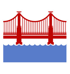 red bridge icon over river vector image