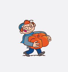 red hair child with big pumpkin between arms vector image