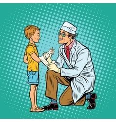 Retro doctor bandaging boy injured arm vector
