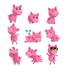 Set of cute little pig in different actions vector