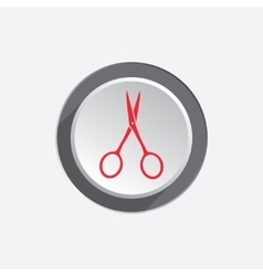 Small scissors tool icon Cut symbol Red sign on vector image vector image
