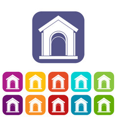 Toy house icons set vector