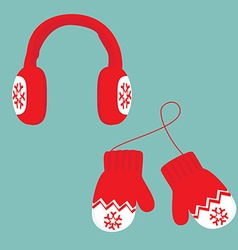 Winter mittens and ear muffs vector image vector image