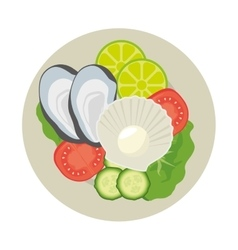 Oyster seashell plate seafood vector