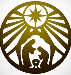 Holy family christian silhouette icon gold white vector