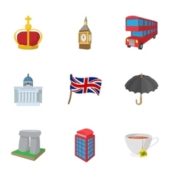 Country united kingdom icons set cartoon style vector
