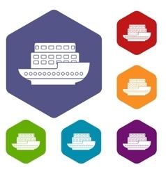 Large passenger ship icons set vector