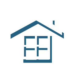silhouette roof and window house elements icon vector image