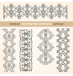 Decorative floral seamless borders vector