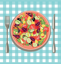 Healthy fresh food in a plate and vegetables on a vector
