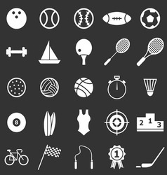 Sport icons on black background vector