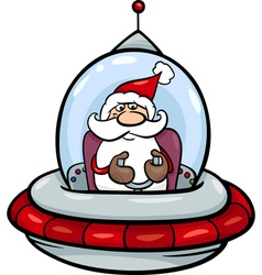 Santa in spaceship cartoon vector
