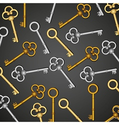 Pattern of old keys gold and silver isolated on bl vector