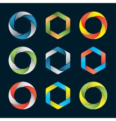 Hexagons and circles vector