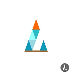 Letter l logo template triangles style vector