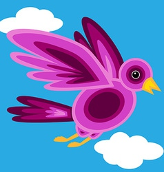 Graphic shape purple bird vector