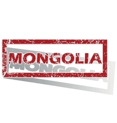Mongolia outlined stamp vector