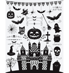 Black sketched doodle halloween icons vector