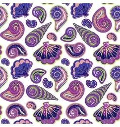 Hand draw sea shells pattern seamless texture vector