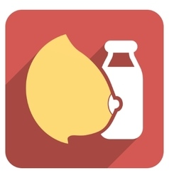 Mother milk bottle flat rounded square icon with vector