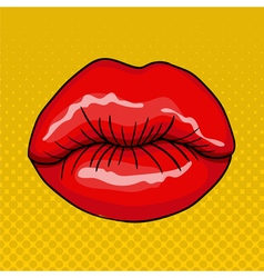Pretty female lips in retro pop art style vector