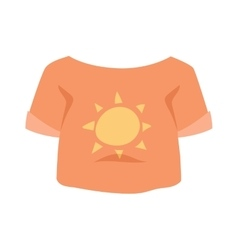 Graphic girls t-shirt design icon with sun vector