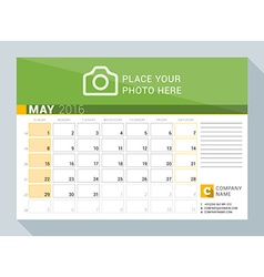 Calendar planner for 2016 year may print template vector