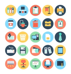 Office colored icons 1 vector