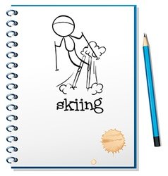 A notebook with a drawing of a boy skiing vector image vector image