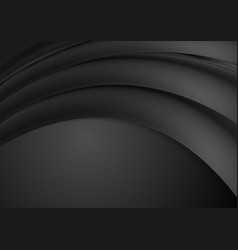 abstract black smooth waves background vector image