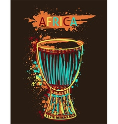 African drum tam tam with watercolor splashes vector