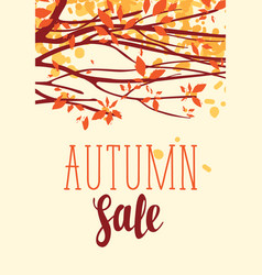 autumn sale banner with inscription and branches vector image vector image