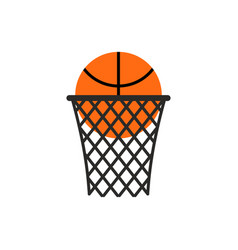 Basketball ball in ring emblem sports logo vector