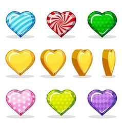 Cartoon colorful glossy heart set game animation vector image vector image